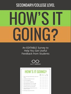Student feedback is the MOST important feedback you can get as a teacher. This simple form gives you a printable PDF to gather that feedback. Includes the original PowerPoint so you can edit it for your own specific needs. SECONDARY/COLLEGE version for grades 7-12 and beyond. #CultofPedagogy Teacher Blogs, Teacher Resources, School Resources, Teacher Stuff, Student Survey, Feedback For Students, End Of School Year, Beginning Of School, High School