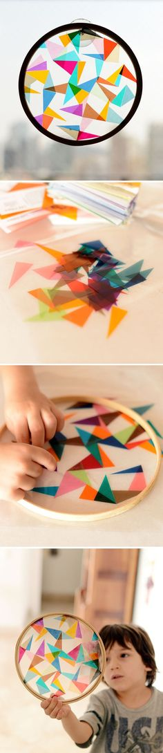 DIY Colorful Geometric Sun Catcher- *You will need: Embroidery hoop, LED filters, clear cellophane, glue stick, scissors.