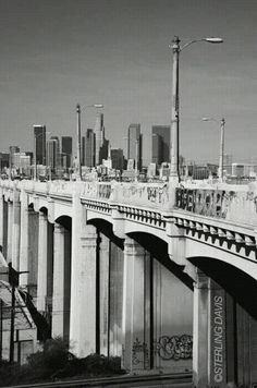 Los Angeles -- Sixth Street Bridge over the L.A. River, with Downtown in the distance.