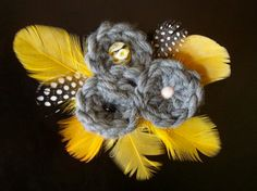 hair accessories, yellow, feather clip, knit accessory