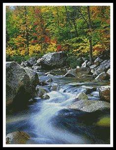 Autumn Stream Cross Stitch Pattern