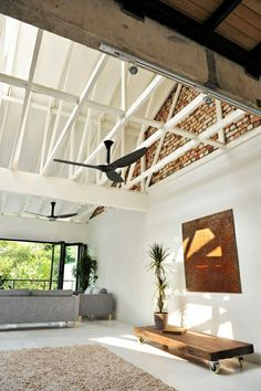 high ceilings. fans/lights  on beams