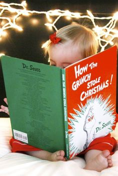 2013 Christmas kids photo, Creative picture idea of Christmas, baby girl is reading a book photo for 2013 Christmas | 2013 Christmas 8 Best kids photo-tell you how to take photos of your kids on this coming Christmas by bellazones