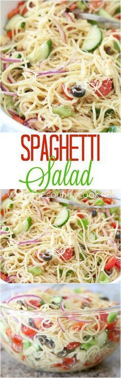 Spaghetti Salad recipe from The Country Cook. This a tried and true recipe that has been made for years. Spaghetti with Italian dressing with cheeses, veggies and special seasonings. Everyone loves it! From the country cook Pasta Recipes, Cooking Recipes, Shrimp Recipes, Recipes With Spaghetti Noodles, Making Spaghetti, Chicken Recipes, Chicken Salads, Cooked Chicken, Chicken Legs