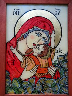 Icoane pe Sticla Blessed Mother Mary, Blessed Virgin Mary, Religious Images, Hail Mary, Madonna And Child, Orthodox Icons, Medieval Art, Christian Art, Mother And Child