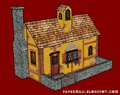 Here is a little Medieval Style House Paper Model, on a single sheet of paper. It is not a hard-to-build model, so so I did not include instructions for this. Download this free paper model at Papermau!