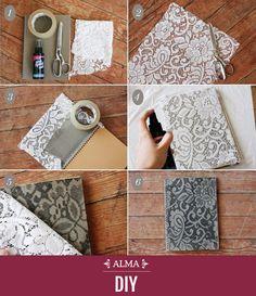 #DiyAlma ¡Dale un estilo original y femenino a tus agendas o cuadernos! Necesitas pintar con un aerosol sobre el encaje previamente adherido y listo. Visítanos en comunidad.almashopping.com #Diy #Ideas #Handmade #ComunidadAlmashopping #Notebook