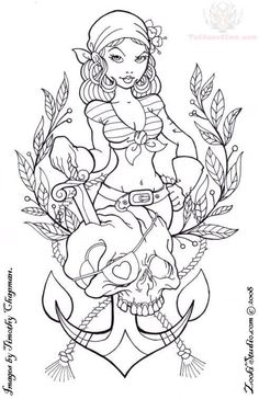 grey-ink-pirate-girl-anchor-tattoo-design.jpg (491×759)