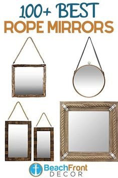 Best Rope Mirrors and Nautical Wall Decor! Discover the top-rated nautical themed rope wall decorations and rope themed mirrors. Round Mirror With Rope, Rope Mirror, Rope Frame, Round Wall Mirror, Round Mirrors, Nautical Wall Decor, Beach Wall Decor, Wall Decorations, Top Rated
