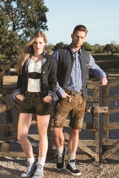 A great couple wearing their tracht Theodore Robinson, Leather Fashion, Mens Fashion, Dirndl Dress, German Fashion, Traditional Dresses, Jet Set, Supermodels, Menswear