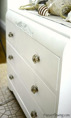 Part of my spring freshening is painting some old pieces to give them new life, and a spring-freshening! love this piece, and the anthropologie knobs are YUM!  It's Overflowing: Helpful Paint Tips = love the idea of wearing your clothes inside out!!    #springintothedream