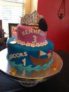 Princess/Pirate+Dual+Birthday+Cake