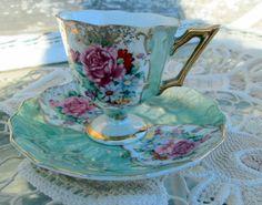 Vintage Teacup Tea Cup and Saucer Lusterware by Holliezhobbiez, $18.75