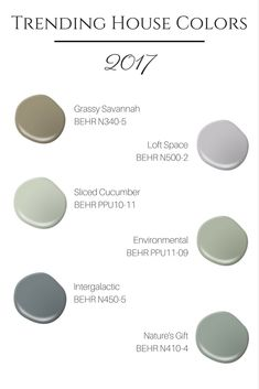 TRENDING HOUSE COLORS FOR 2017