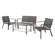 Threshold Clifton 4-Piece Sling Patio Conversation Furniture Set - Gray