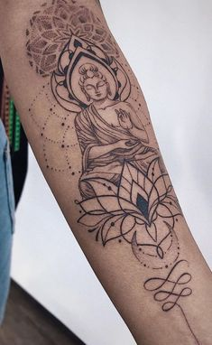 delicate feminine buddhist tattoo: delicate arm small rib writing back shoulder flower drawing anima Buddha Tattoos, Buddha Tattoo Design, Buddha Lotus Tattoo, Ems Tattoos, Body Art Tattoos, Small Tattoos, Tattoos For Guys, Temporary Tattoos, Flower Tattoos