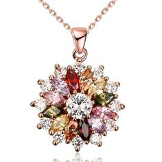 Rose Gold Plated Multi-Jewels Necklaces