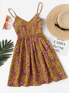 V Neckline Floral Print Cami Dress Cute Dresses, Casual Dresses, Short Dresses, Casual Outfits, Fashion Dresses, Maxi Dresses, Fashion Clothes, Fashion Boots, Cute Summer Outfits