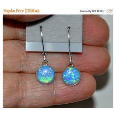 SALE Australian Opal Earrings, Dangling Earrings, Sterling Silver... (770 UAH) ❤ liked on Polyvore featuring jewelry, earrings, sterling silver dangle earrings, opal earrings, blue jewelry, blue dangle earrings and stone earrings
