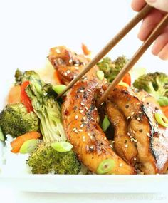 This simple sheet pan Teriyaki Chicken and Vegetables is so good and way healthier than take out! Serve as is or over rice. Top Recipes, Real Food Recipes, Chicken Recipes, Dinner Recipes, Cooking Recipes, Pan Cooking, Cooking Fish, Dinner Ideas, Healthy Snacks