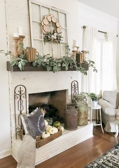 Attractice Mantel Design And Decoration Ideas For This Fall - Mantel decorating ideas that compliment the fireplace might very well be the focal point of your room. If you have a fireplace, the mantel will be a d. Rustic Decor, Farmhouse Decor, Farmhouse Style, Farmhouse Fireplace, Fall Mantel Decorations, Mantel Ideas, Decor Ideas, Diy Ideas, Fireplace Mantels