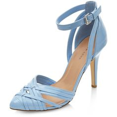 Pale Blue Pointed Ankle Stap Court Shoes