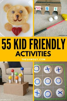 Need a few fun kid-friendly activity ideas that are inexpensive, simple to do and make, and will keep the kids busy for hours? These 55 kid-friendly activities are perfect whether you are inside or outdoors, for toddlers or kids of all ages! Have some family fun this spring and summer with these cool kid activities that the whole family can enjoy! Woodworking Projects For Kids, Diy Projects For Kids, Backyard Projects, Arts And Crafts Projects, Project Ideas, Handmade Wooden Toys, Home Activities, Upcycled Crafts, Activity Ideas