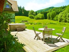 Beautiful garden with stunning panoramic mountain view at La Forestière Guesthouse B&B in Alsace .