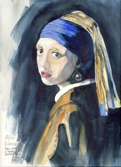 Girl with Pearl Earring after Vermeer by bonnieporter on Etsy