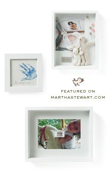 Shadow boxes by Darcy Miller. Great way to keep your family's memories.