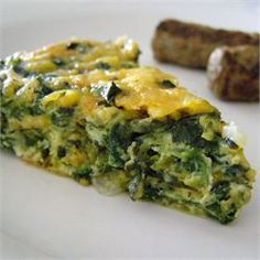 Crustless Spinach Quiche - Allrecipes.com. I used about 3/4 an onion and 2 1/2c cheese, pre-shredded blend of mild cheeses that came in a pkg. (mozzarella, etc).