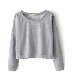 Sheinside Women's Grey Round Neck Long Sleeve Crop Sweatshirt ($20) ❤ liked on Polyvore