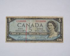 1954 Canada 5 Dollar Banknote Paper Money