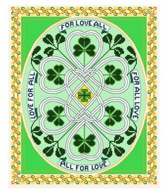 Irish Love For All - St Patricks Day cross stitch pattern designed by Muffy. Category: Samplers.