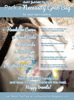 Never leave home without it! This checklist will help you remember those little things that are so easy to forget on a roadtrip, but so necessary! Includes printable!