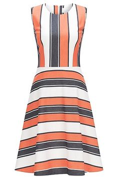The combination of vertical and horizontal stripes characterises the modern design of this BOSS women's dress. Its tailored fit accentuates the feminine silhouette, which is further emphasised by the slightly flared skirt. The stretch fabric in a cotton blend with viscose gives it a very comfortable and lightweight quality. Perfect for a smart casual look with a summery feeling.