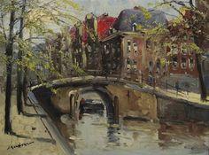 Jan Kelderman (1914-1990), grachtengezicht, olieverf op doek