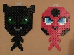 Tikki and Plagg from Miraculous Ladybug, in Hama Bead.