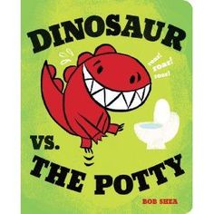 about a destructive dinosaur who doesn't go pee when he should. Sound familiar? Kinda like little kids who dump toys, bang and stomp and deny that they have to use the potty until the very last minute.