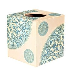 This square tissue box is fashioned from wood, with a sliding lower shelf to store tissues. It is part of our Art Indya range, created using a specialist 3D effect decoupage technique to bring this beautiful design to life. #HomeDecor