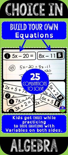 build their own equations with variables on both sides to solve. Solving Linear Equations, Algebra Equations, Algebra 1, Math Teacher, Math Classroom, Teaching Math, Teacher Stuff, Classroom Ideas, Teaching Strategies