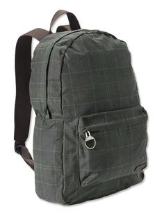Created in hardy waxed cotton with a nylon back panel for breathability, this simply styled backpack features a zipped outer pocket and adjustable webbing straps for a comfortable fit. A grab handle at the top adds extra convenience.Waxed cotton backpack tartan style bag with adjustable webbing shoulder straps and grab handle. One inner slip pocket and one outer zipped pocket. Zip fastening main compartment.
