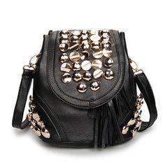 Fahsion Mulheres Rivet balde de couro Crossbody Bag