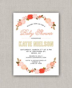 Flower Baby Shower Invitation by announcingyou on Etsy Baby Shower Flowers, Baby Shower Invitations, Etsy, Shower Invitation, Baby Sprinkle Invitations