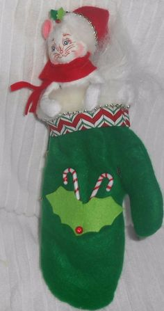 """Annalee Christmas Kitten in a Mitten 800308 2008  12"""" Kitty Cat Candy Cane Holly #Annalee #Dolls"""