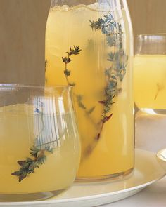 Vodka-Thyme Lemonade 2 c sugar 12 sprigs thyme 4 c. lemon juice 2 c. vodka In small saucepan combine 2 c H2O with sugar & thyme; boil over high heat stirring occasionally, til sugar has dissolved. Remove from heat; let cool to room temperature. Pour mixture through fine sieve into large glass measuring cup; discard thyme. You should have 2 cups syrup. Cover with plastic; chill. In large serving pitcher, stir together lemon juice, vodka, & chilled syrup; garnish with thyme. Serve over ice