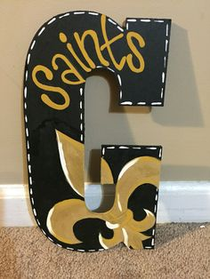 New Orleans Saints painted letter door hanger
