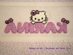 Lado avesso do bordado - Monograma da Hello Kitty com o nome Karina