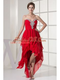 Red Prom Dress With Beading and Chiffon For Custom Made  http://www.fashionos.com  To be flawless in this flowy chiffon high-low prom dress. This simple design comes alive with sweetheart neckline with rouching and beading decoration on the bustline. Tiers of ruffles on the skirt form a high-low design, give the dress a floating feeling. Hidden zipper up back finishes the look.Flattering light chiffon is a great selection for your prom, evening or other special occasion.