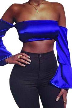 030ec02f26 Dazzling Blue Off-shoulder Flare Sleeve Silky Crop Blouse